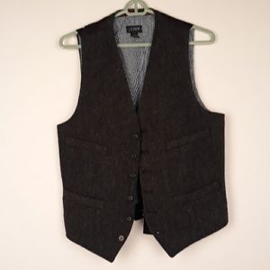J CREW Dark Grey Moon Tweed Wool Mens Sz S Vest